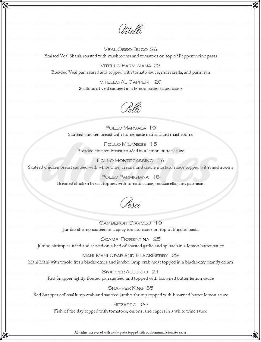 menu for L'italiano Restaurant
