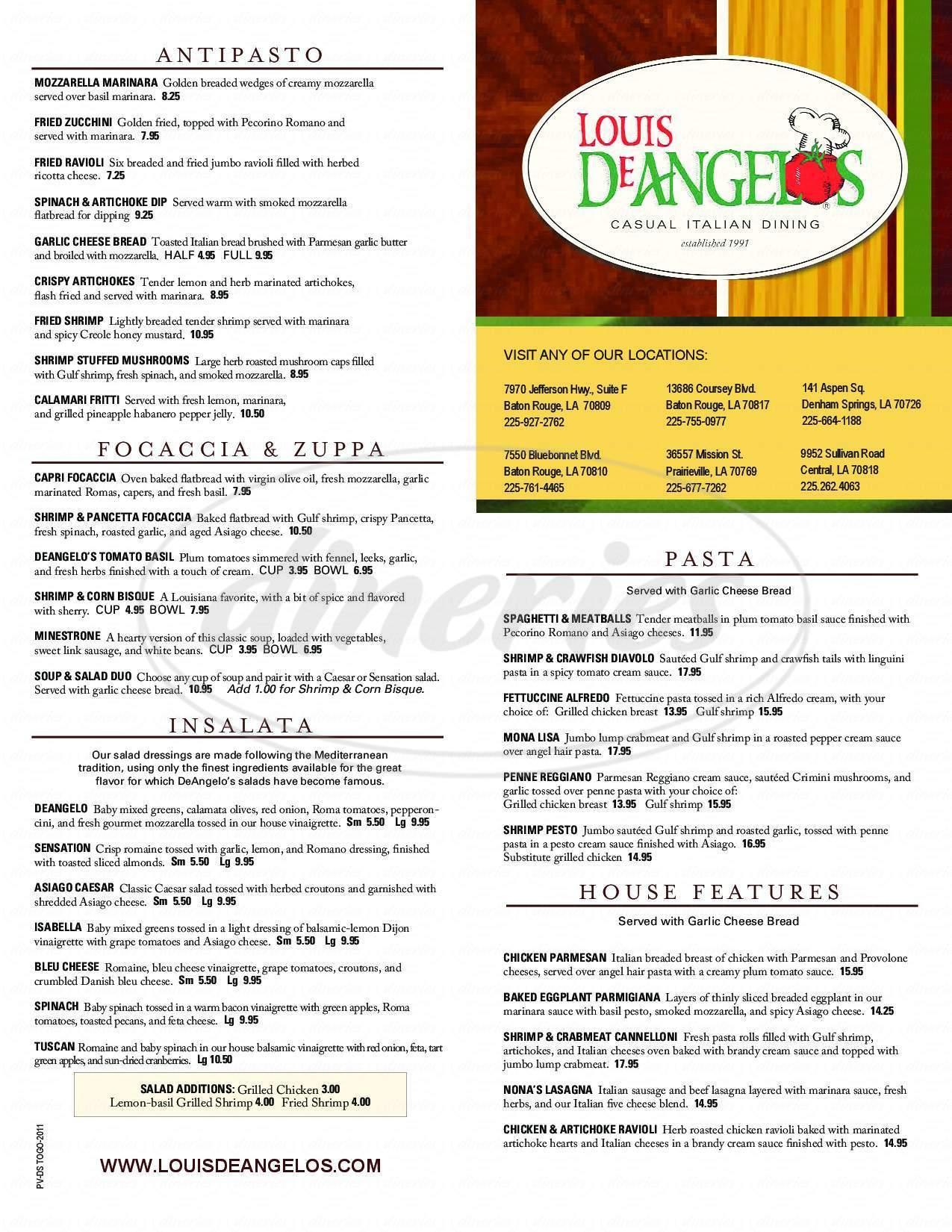menu for Deangelos Pizzeria
