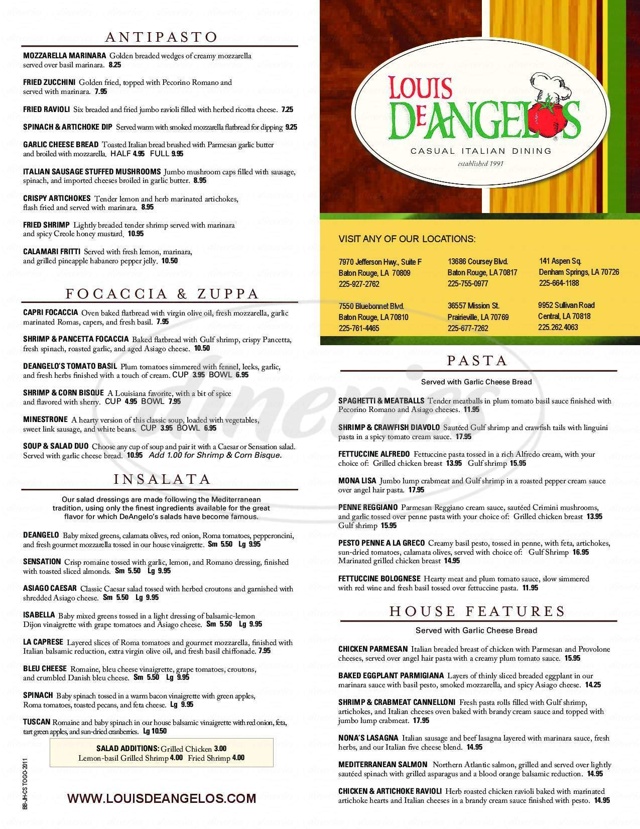 menu for Louis DeAngelos