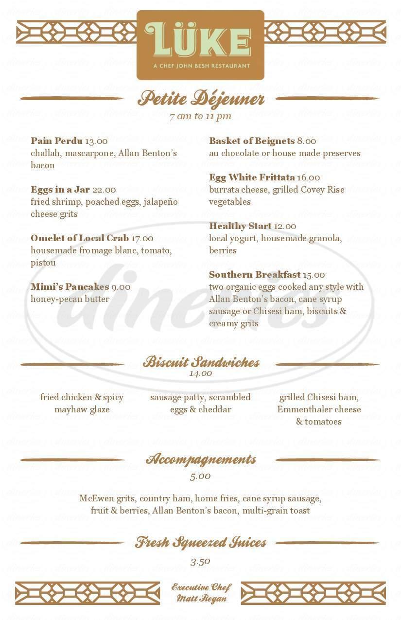 menu for Lüke