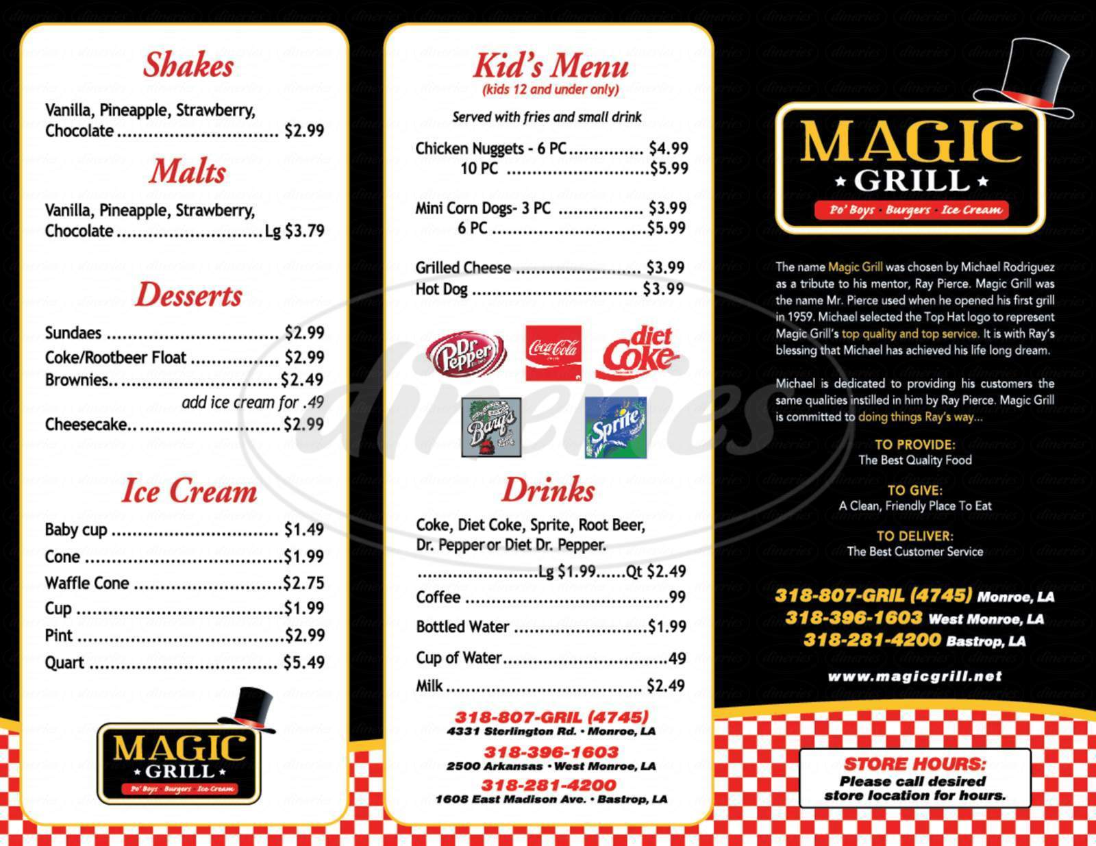 menu for Magic Grill