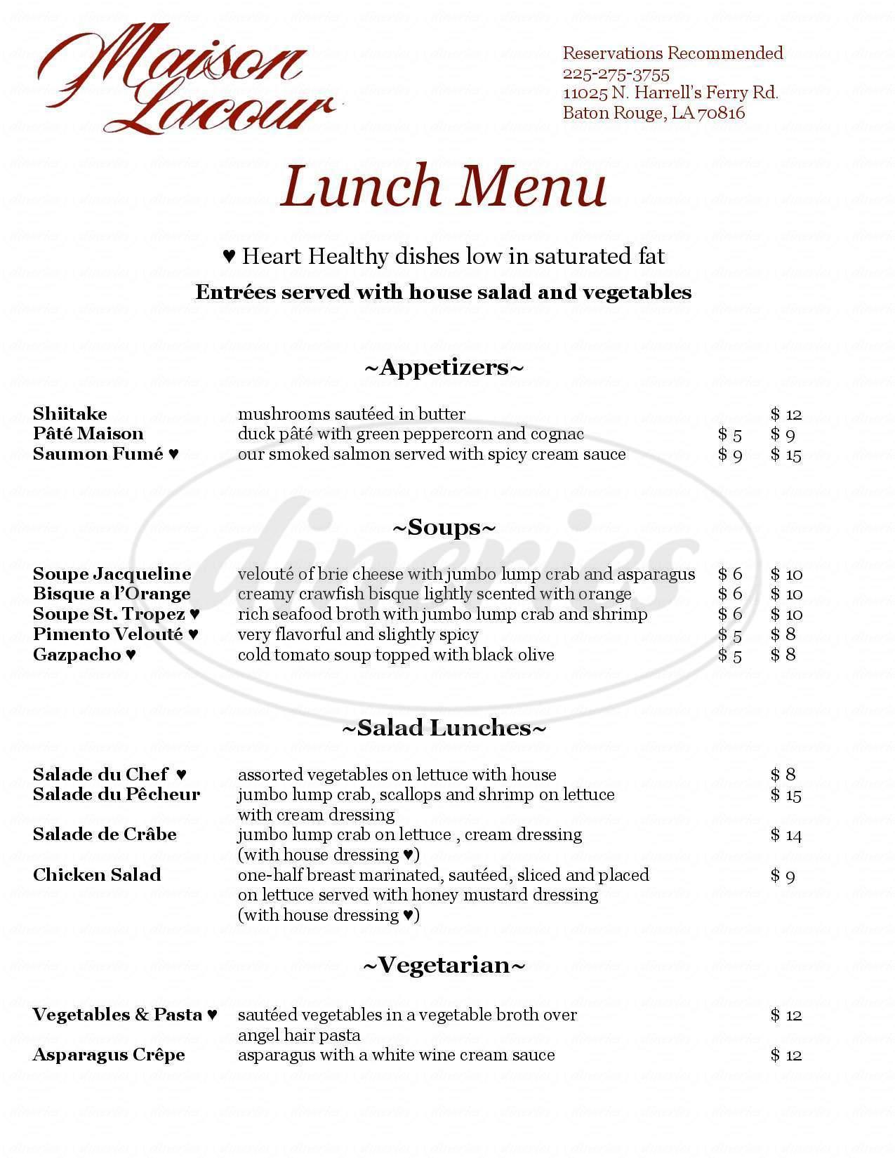 menu for Maison Lacour