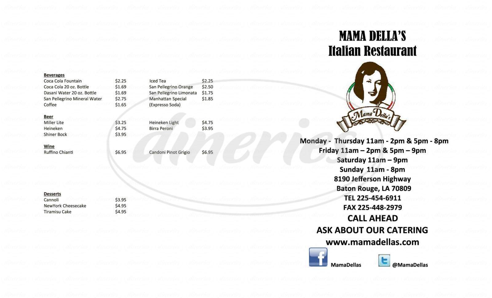 menu for Mama Della's