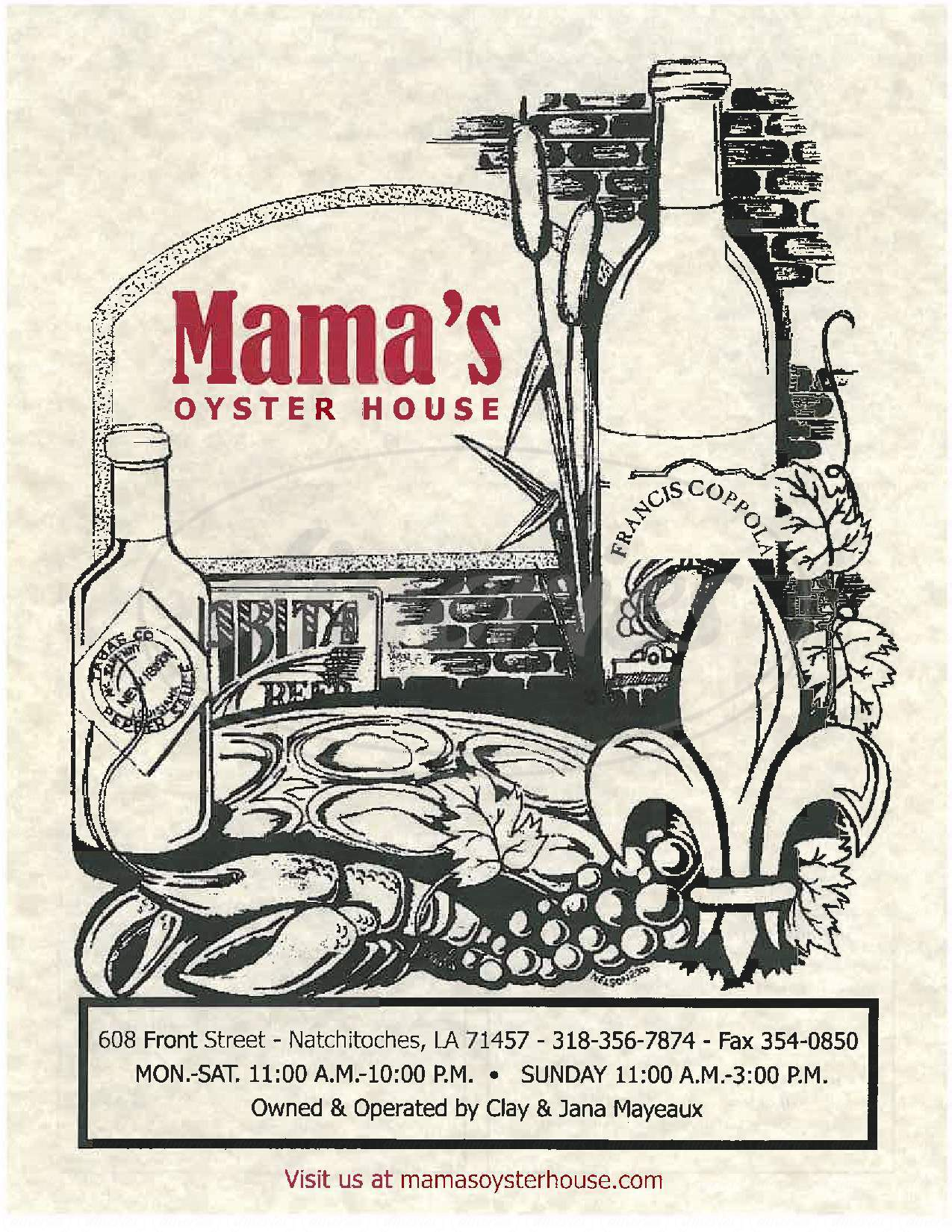 menu for Mama's Oyster House