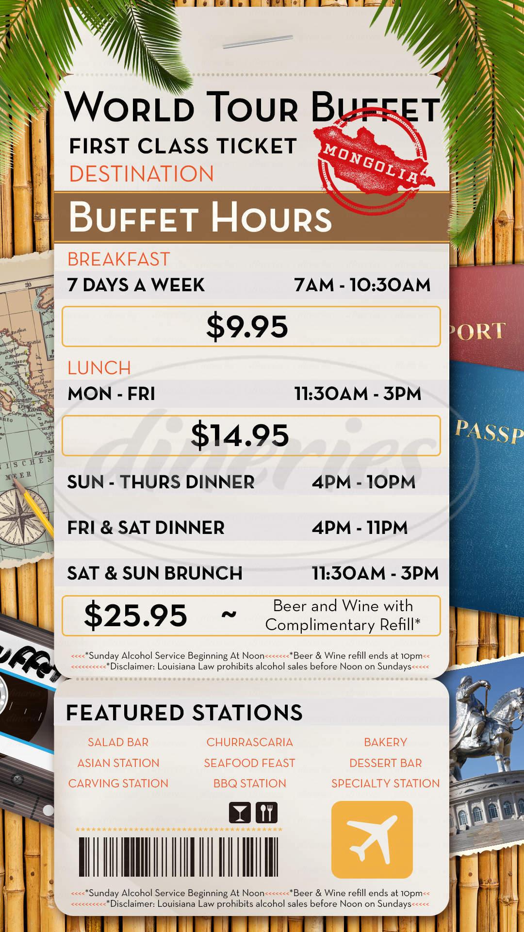 menu for Margaritaville World Tour Buffet