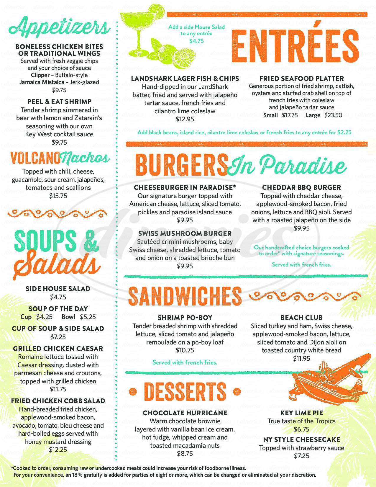 menu for Margaritaville Restaurant