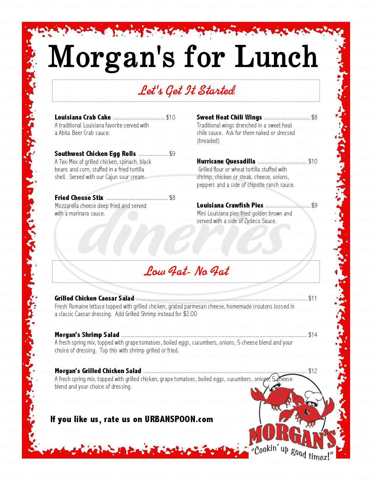menu for Morgan's Restaurant