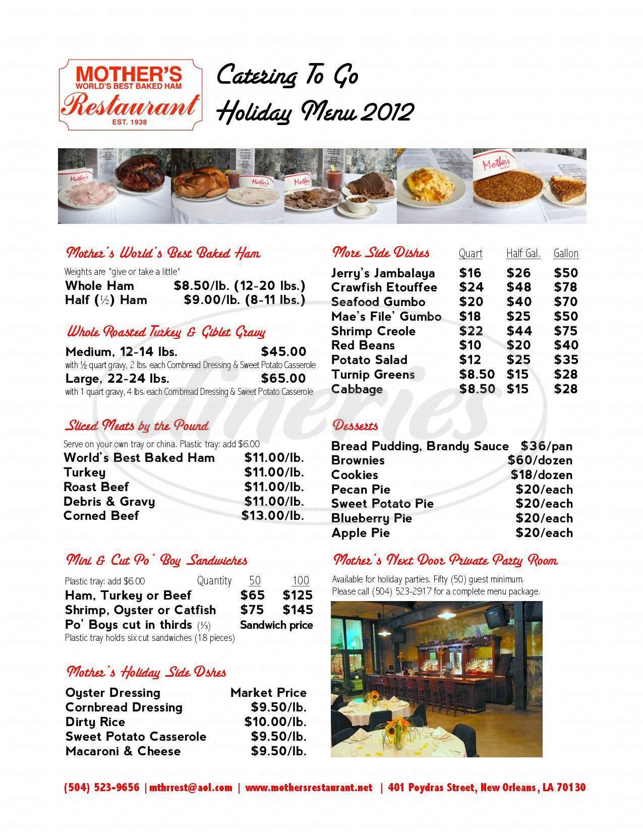 menu for Mother's Restaurant
