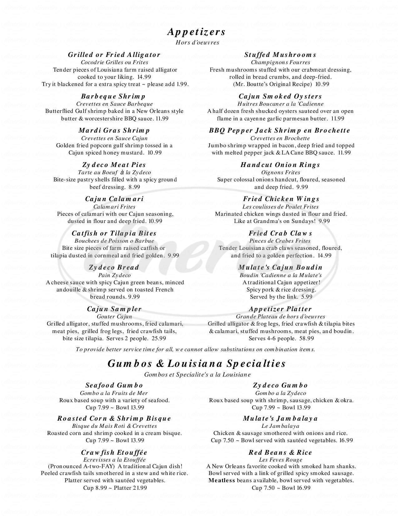 menu for Mulate's The Cajun Restaurant