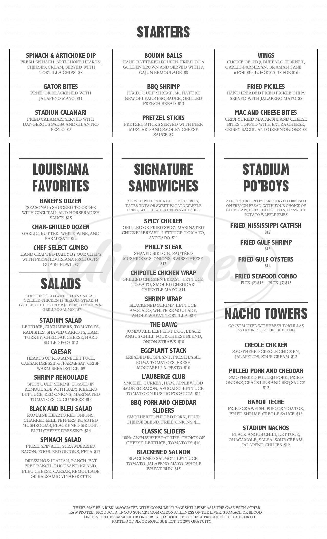 menu for Stadium