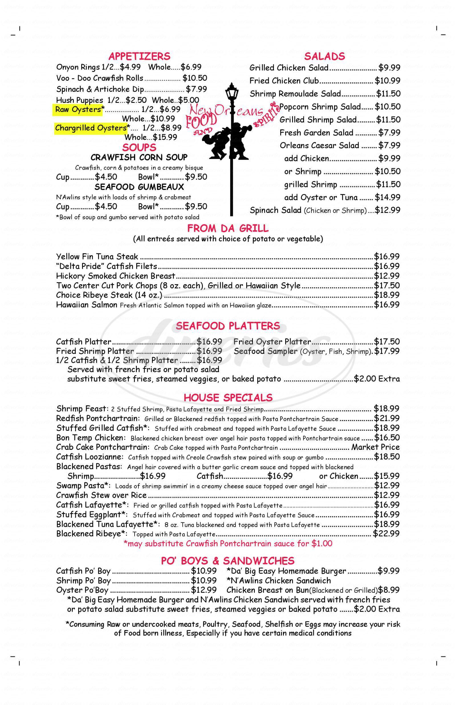 menu for New Orleans Food and Spirits
