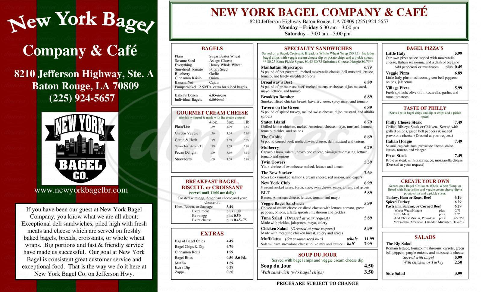 menu for New York Bagel