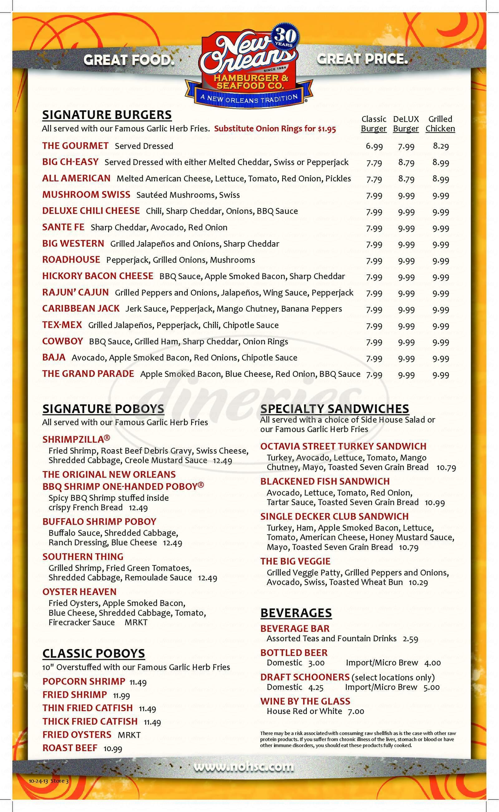 New Orleans Hamburger Seafood Co Big Menu Metairie Dineries