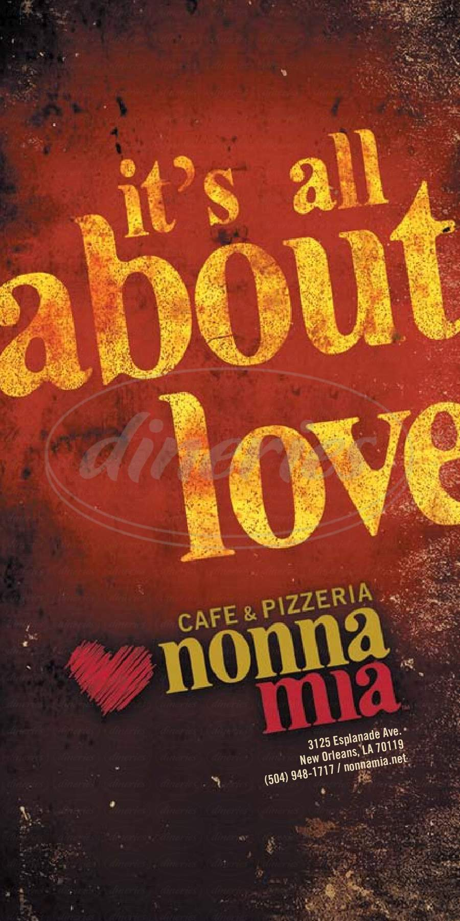 menu for Nonna Mia Cafe & Pizzeria