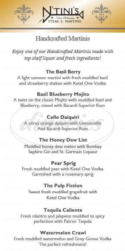 menu for N'Tini's