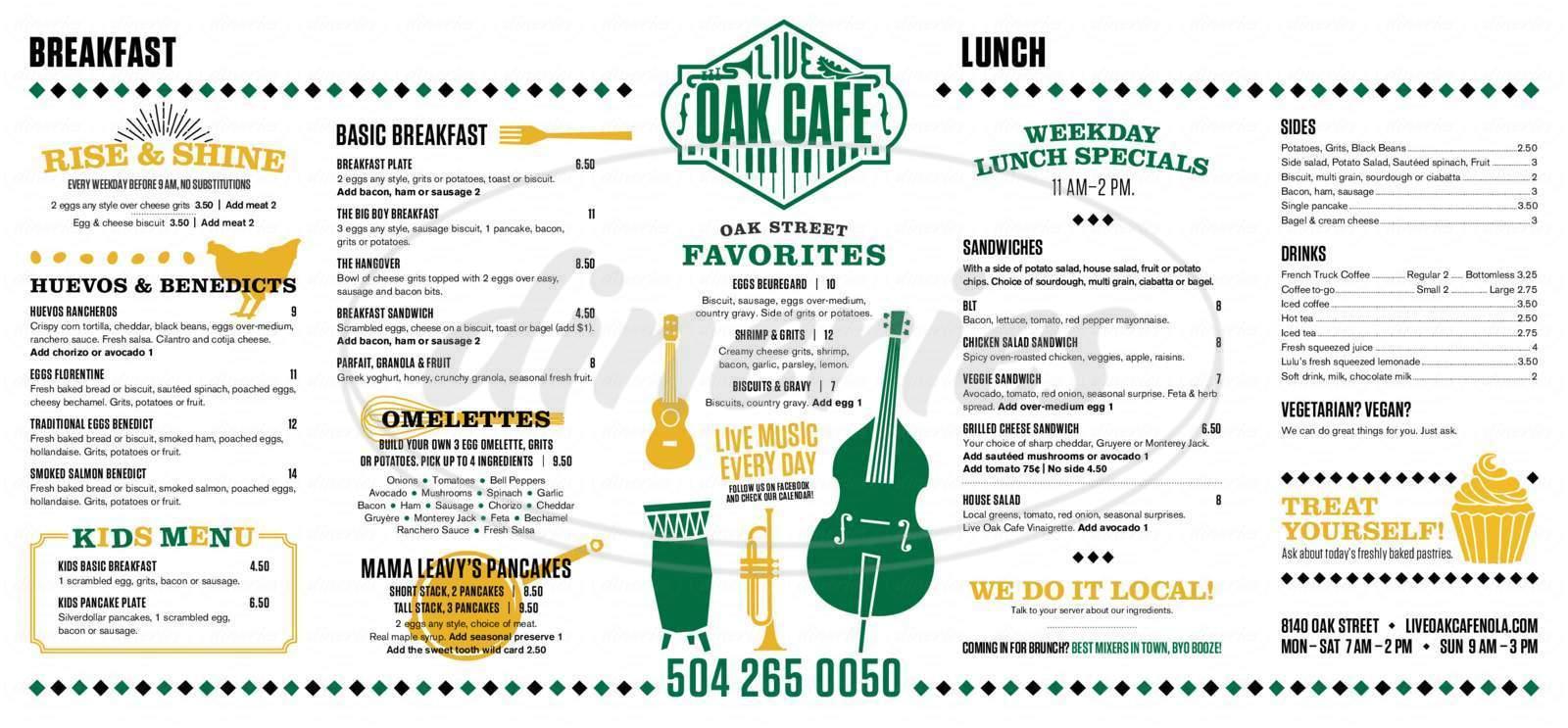 menu for Oak Street Cafe