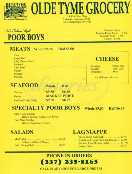 menu for Olde Tyme Grocery