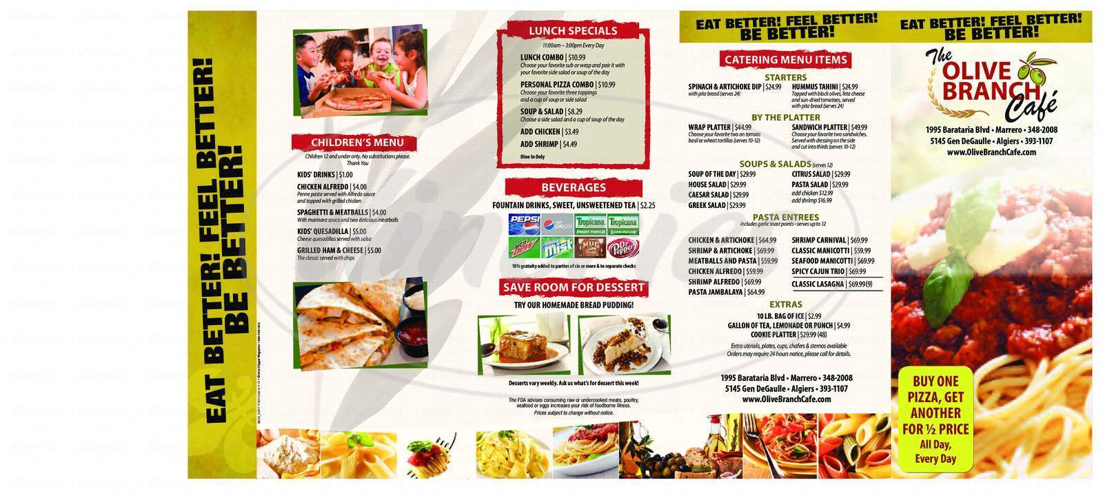 menu for Olive Branch Cafe