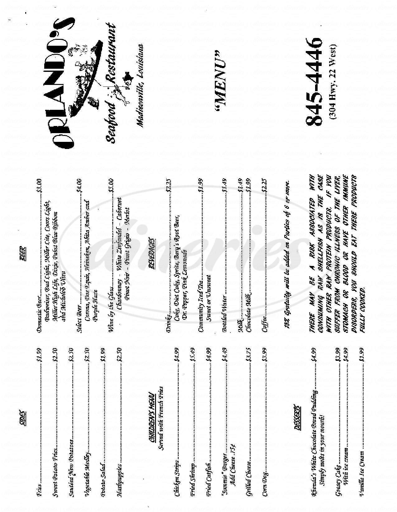 menu for Orlando's Seafood Restaurant