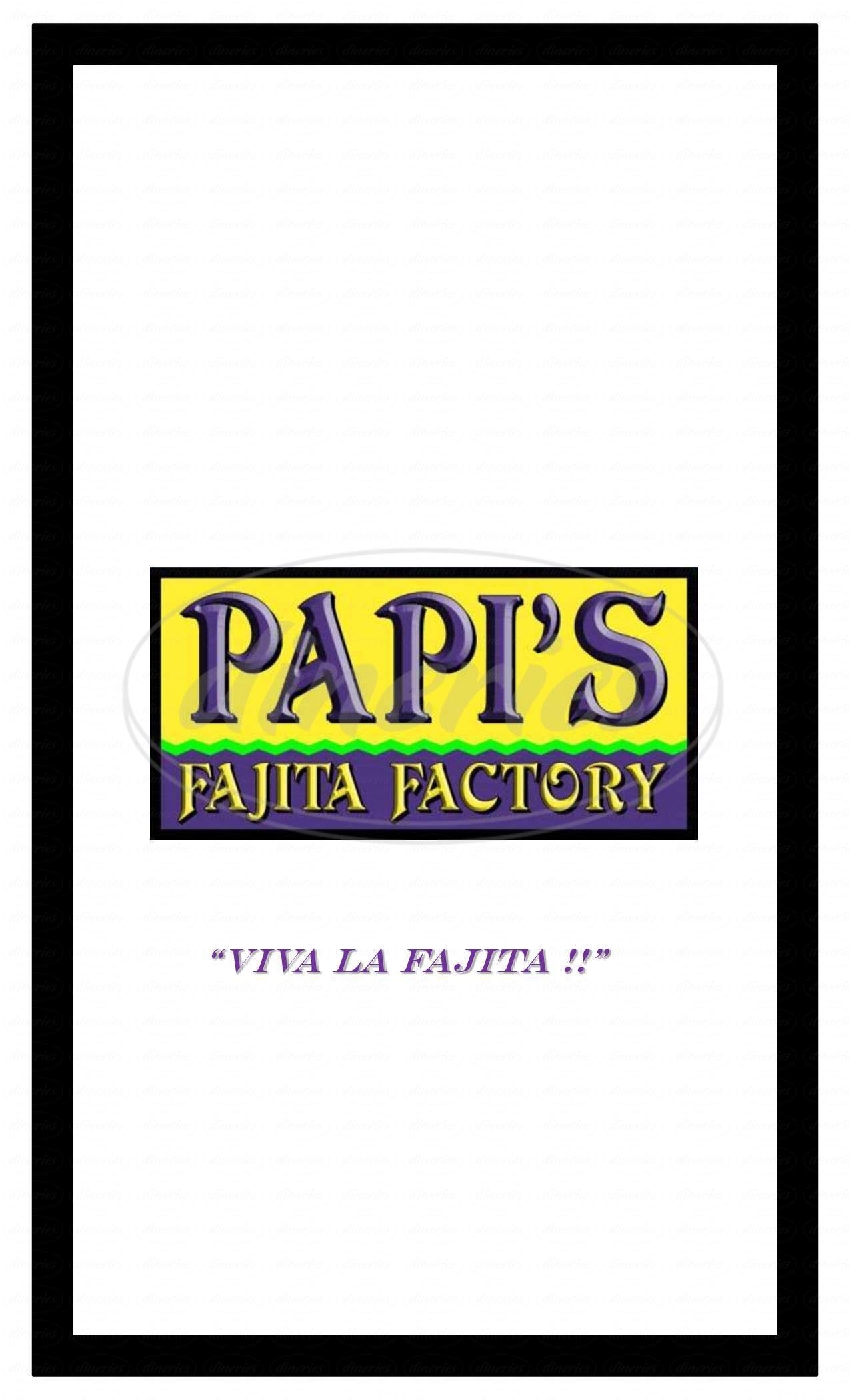 menu for Papi's Fajita Factory