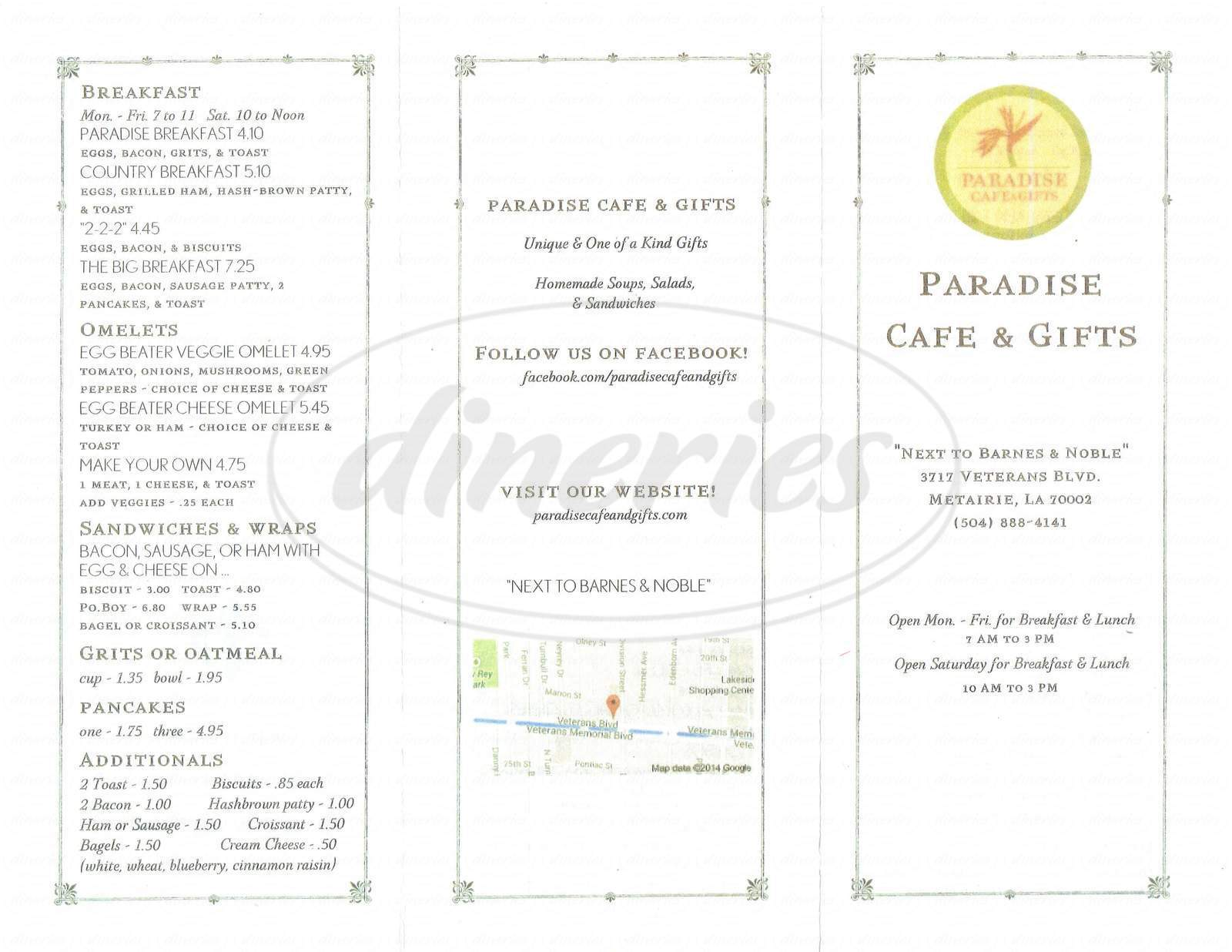 menu for Paradise Cafe