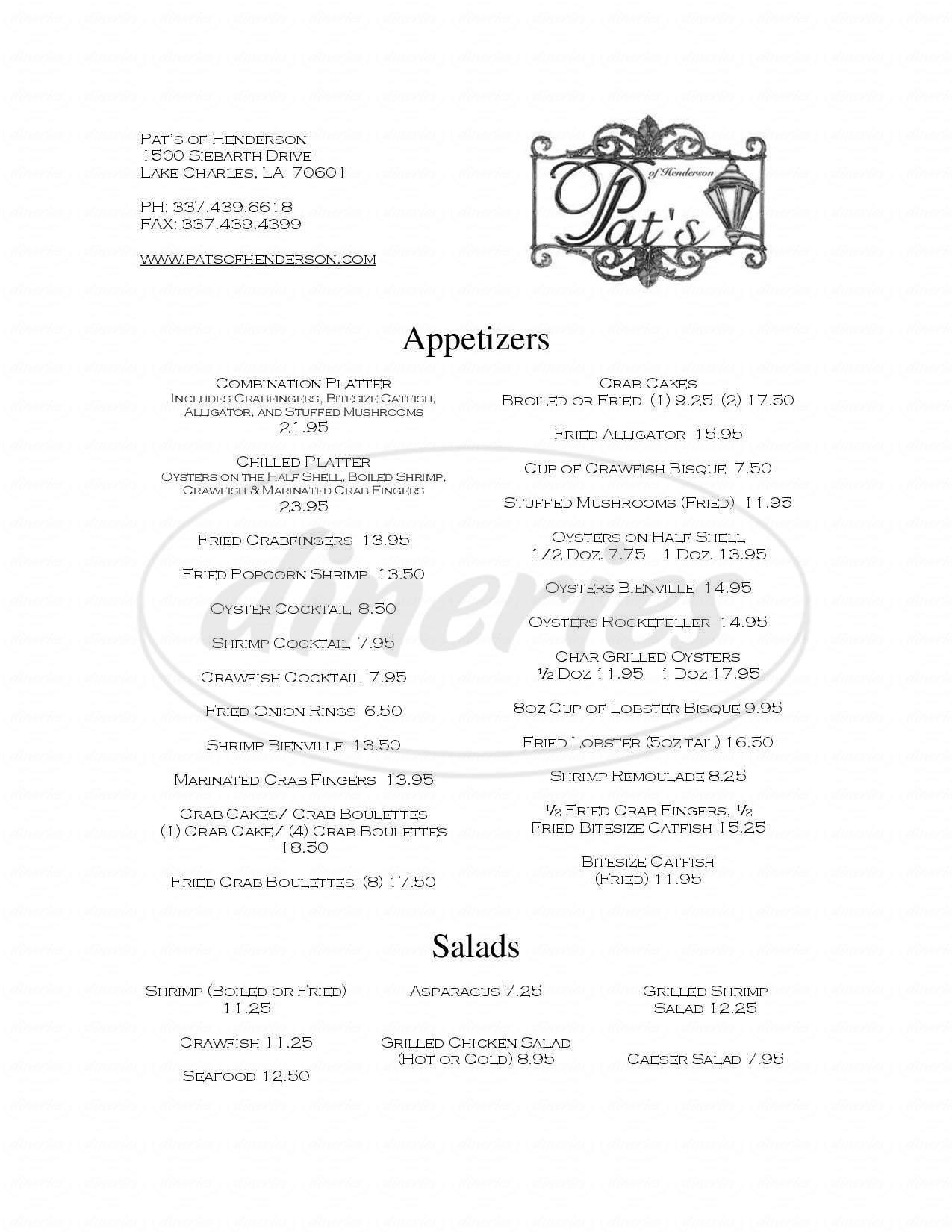 menu for Pat's of Henderson