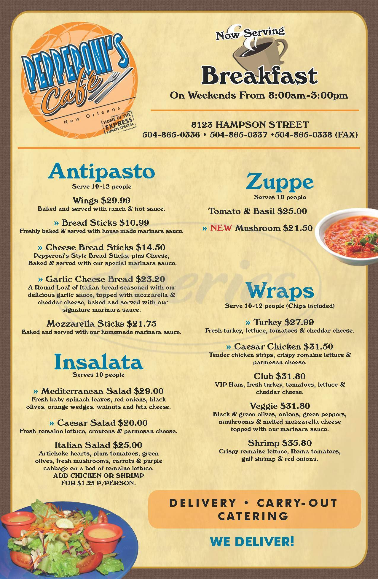 menu for Pepperoni's Cafe