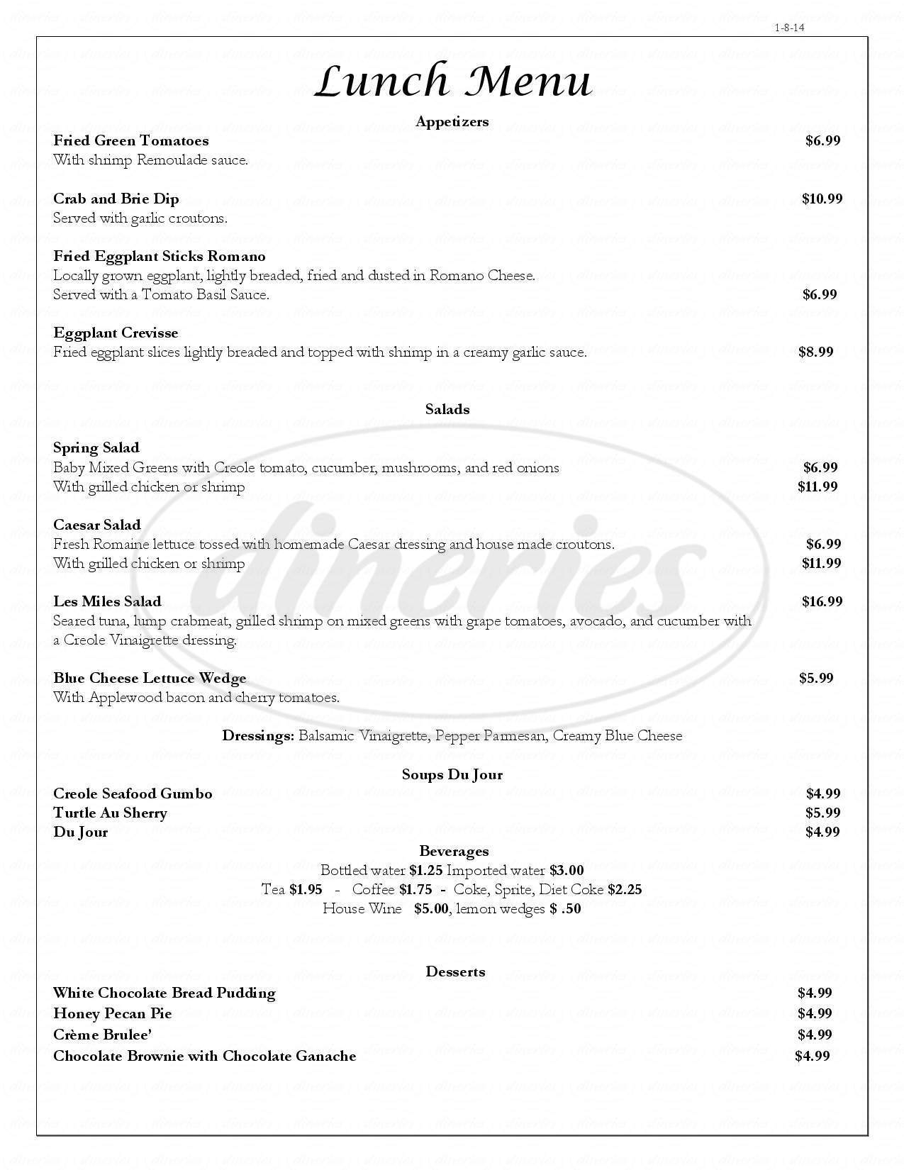 menu for Ormond Plantation
