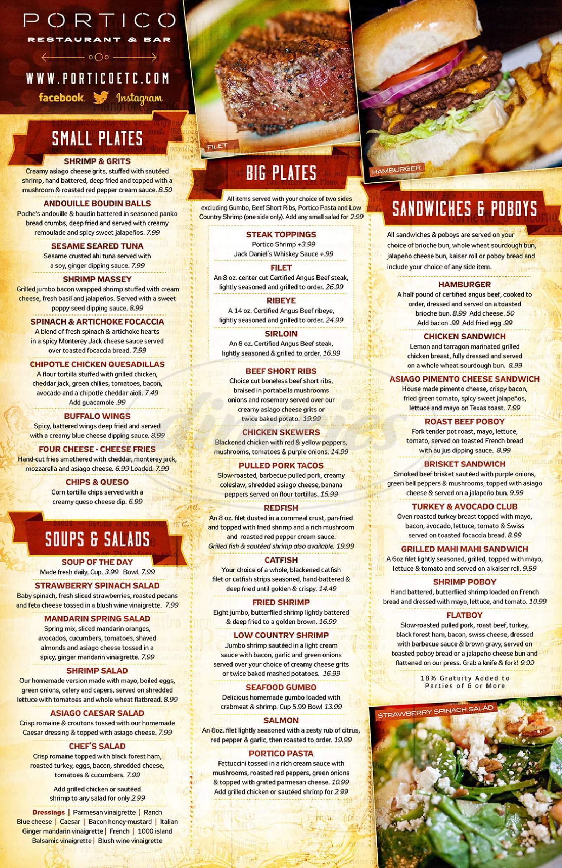 menu for Portico Monroe