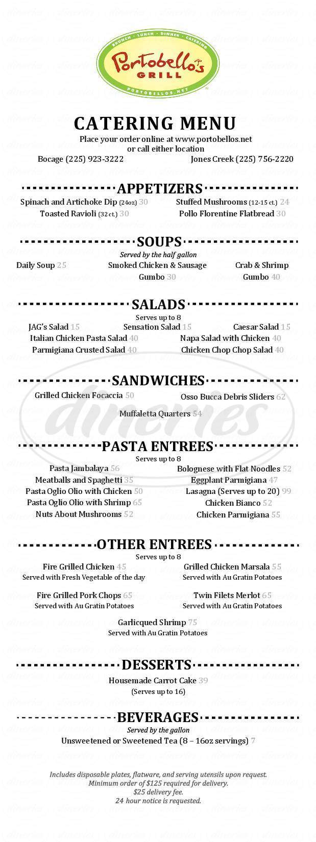 menu for Portobello's Italian Grill