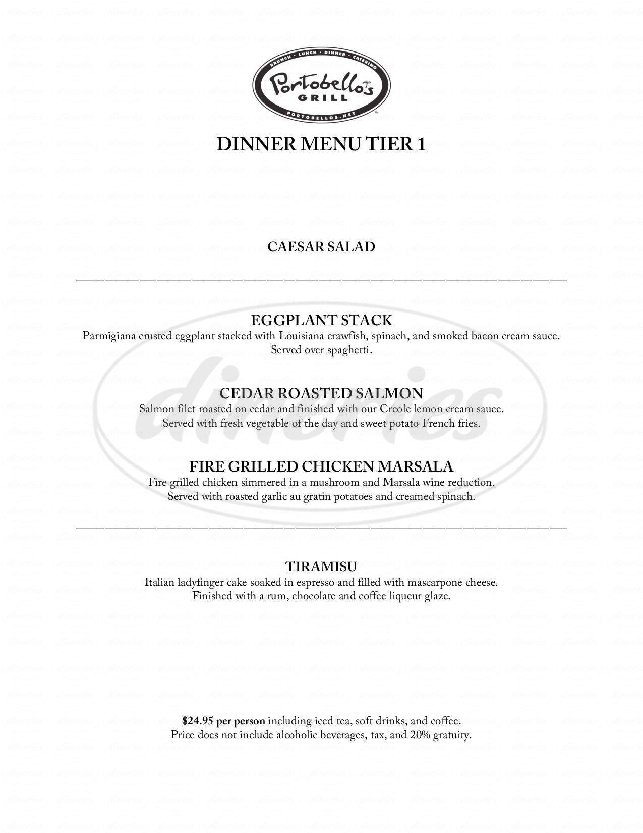 menu for Portobello's Italian Grill