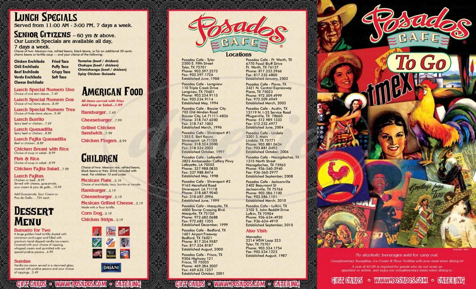 menu for Posados Cafe