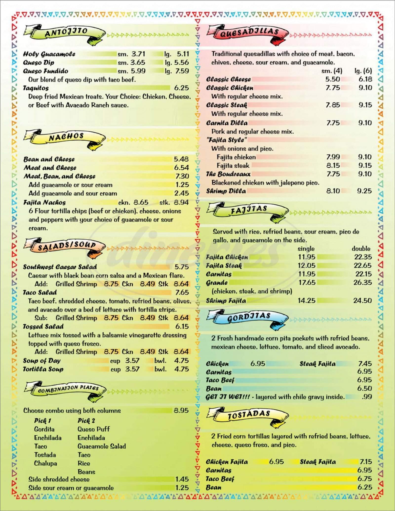 menu for Que Pasa Taqueria