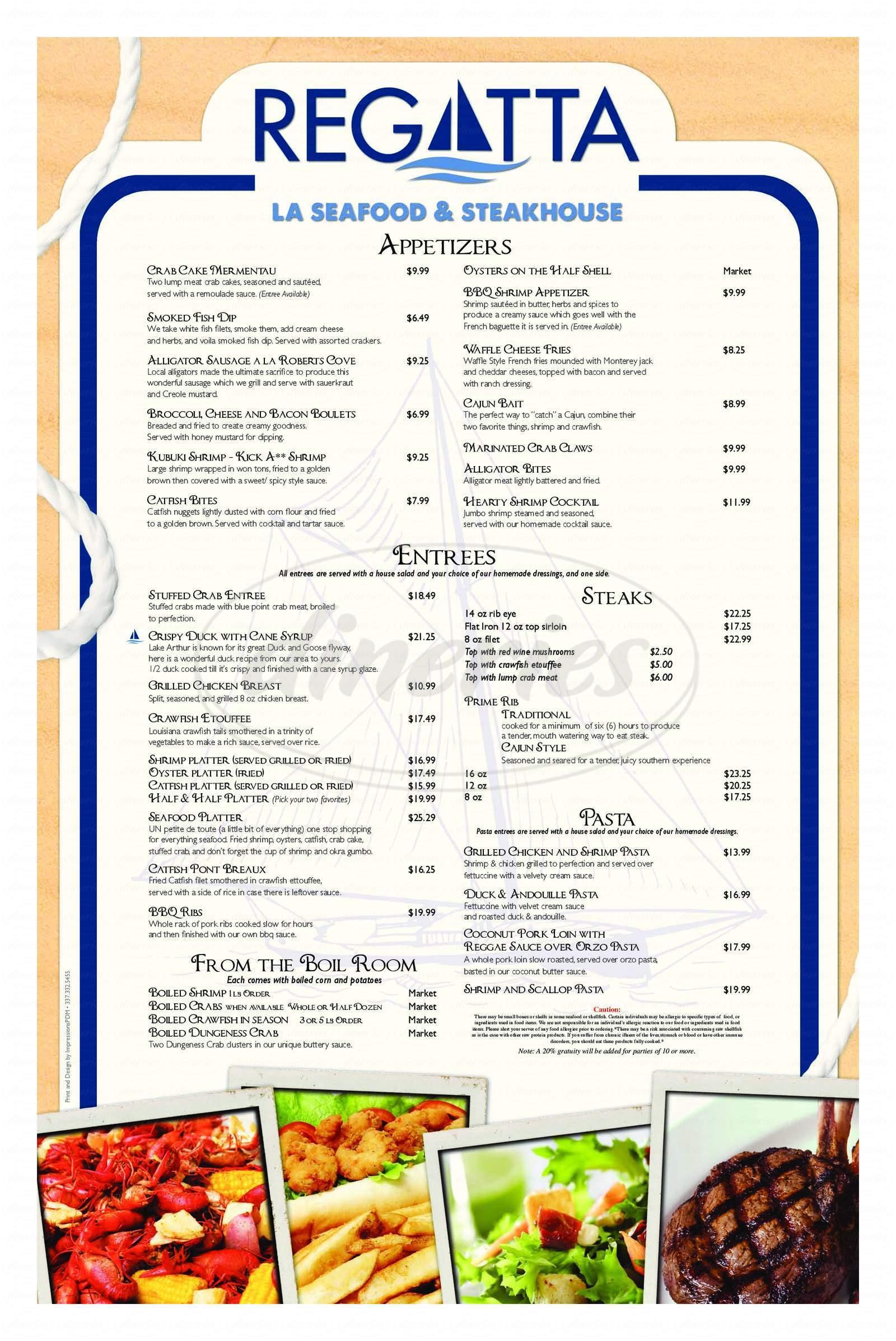 menu for Regatta Seafood & Steak House