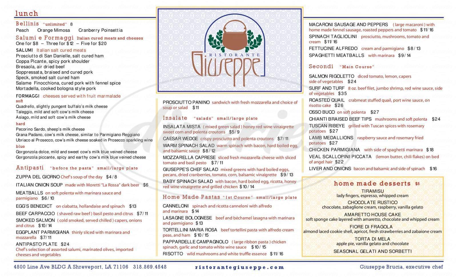 menu for Ristorante Giuseppe