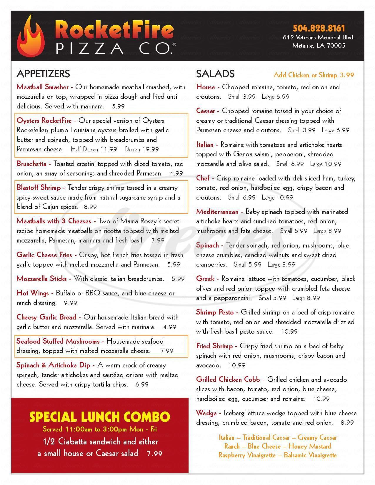 menu for RocketFire Pizza Co.