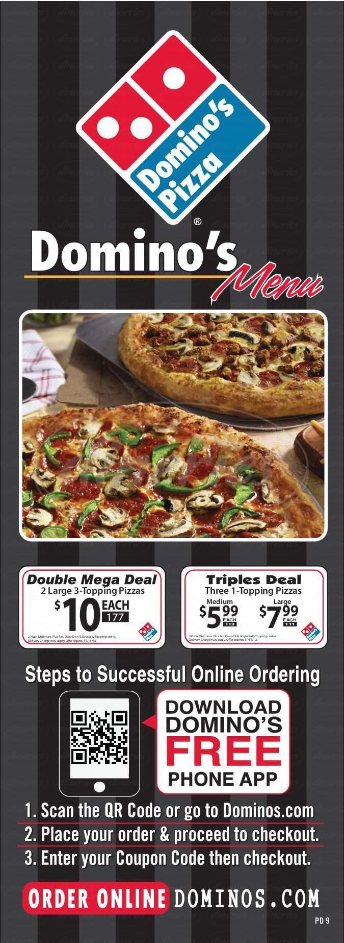 menu for Domino's Pizza