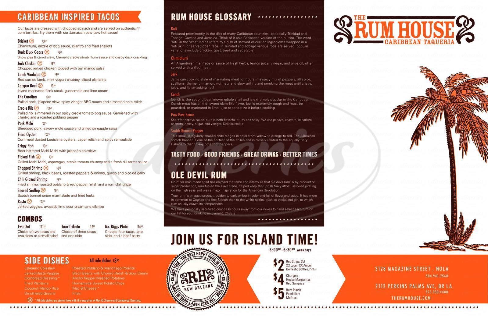 menu for The Rum House