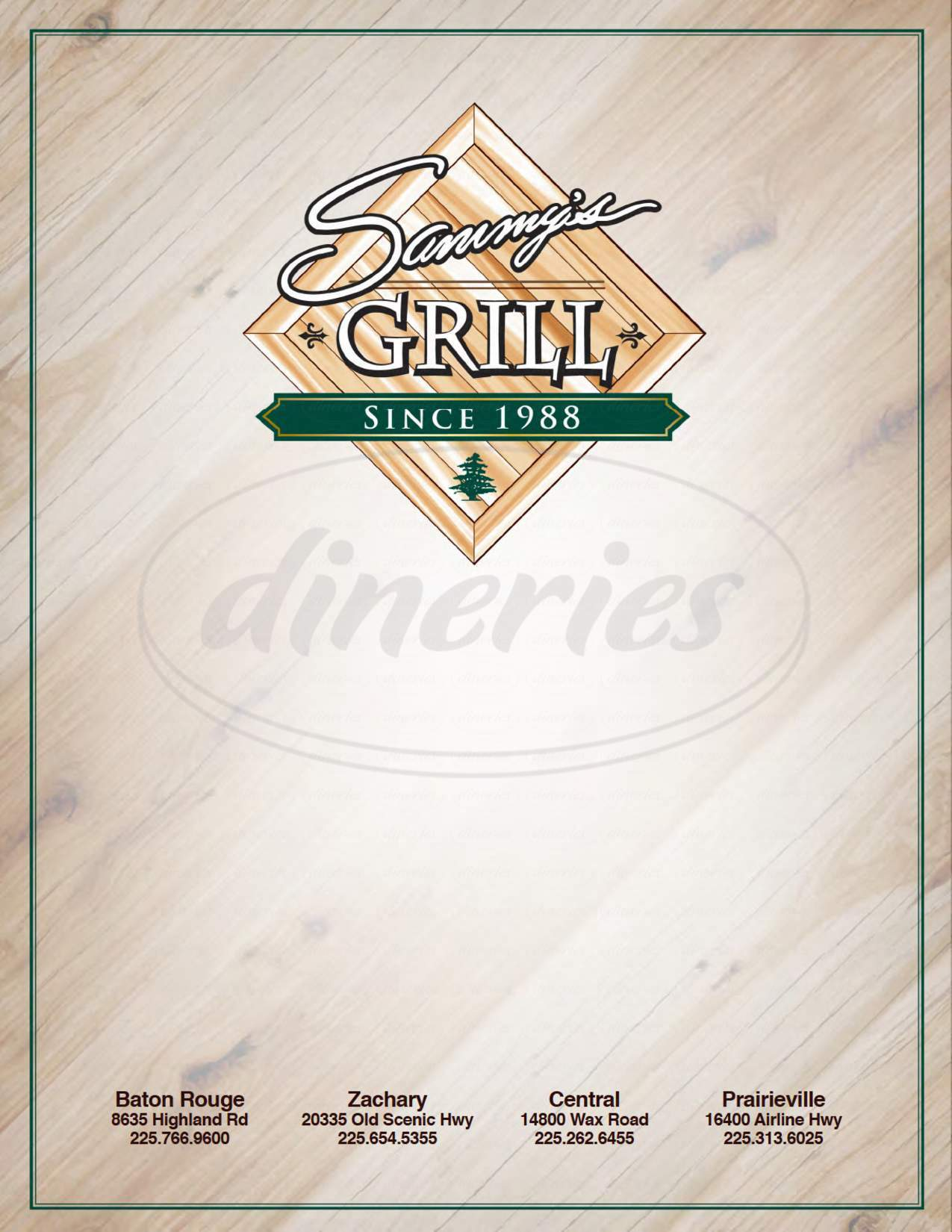 menu for Sammy's Grill