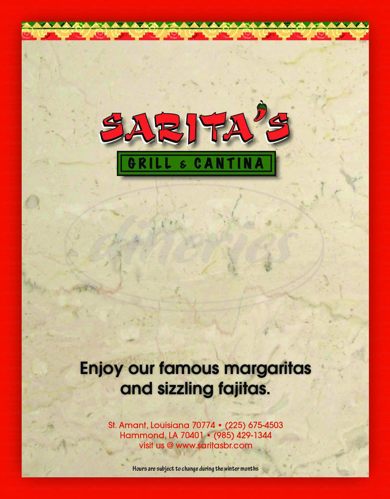 menu for Sarita's Mexican Grill & Cantina