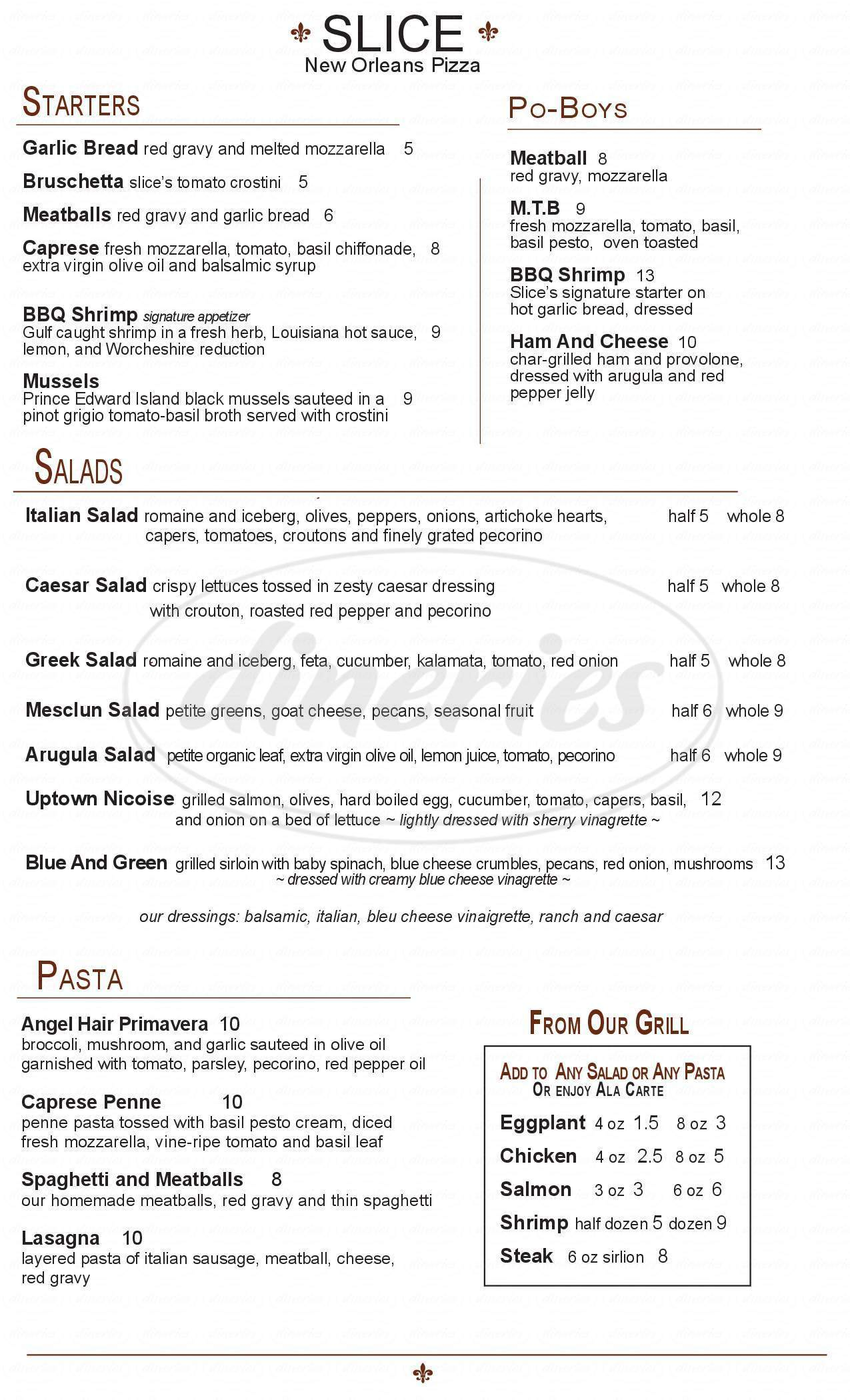 menu for Slice Pizzeria - St. Charles