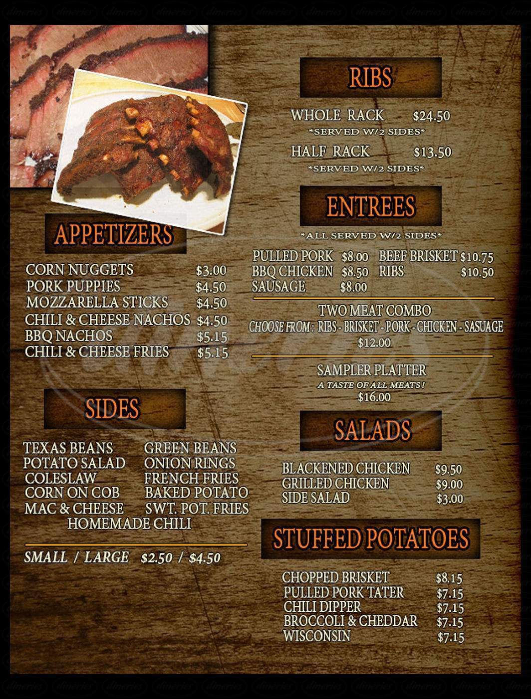 menu for Smokey J's Ribshack