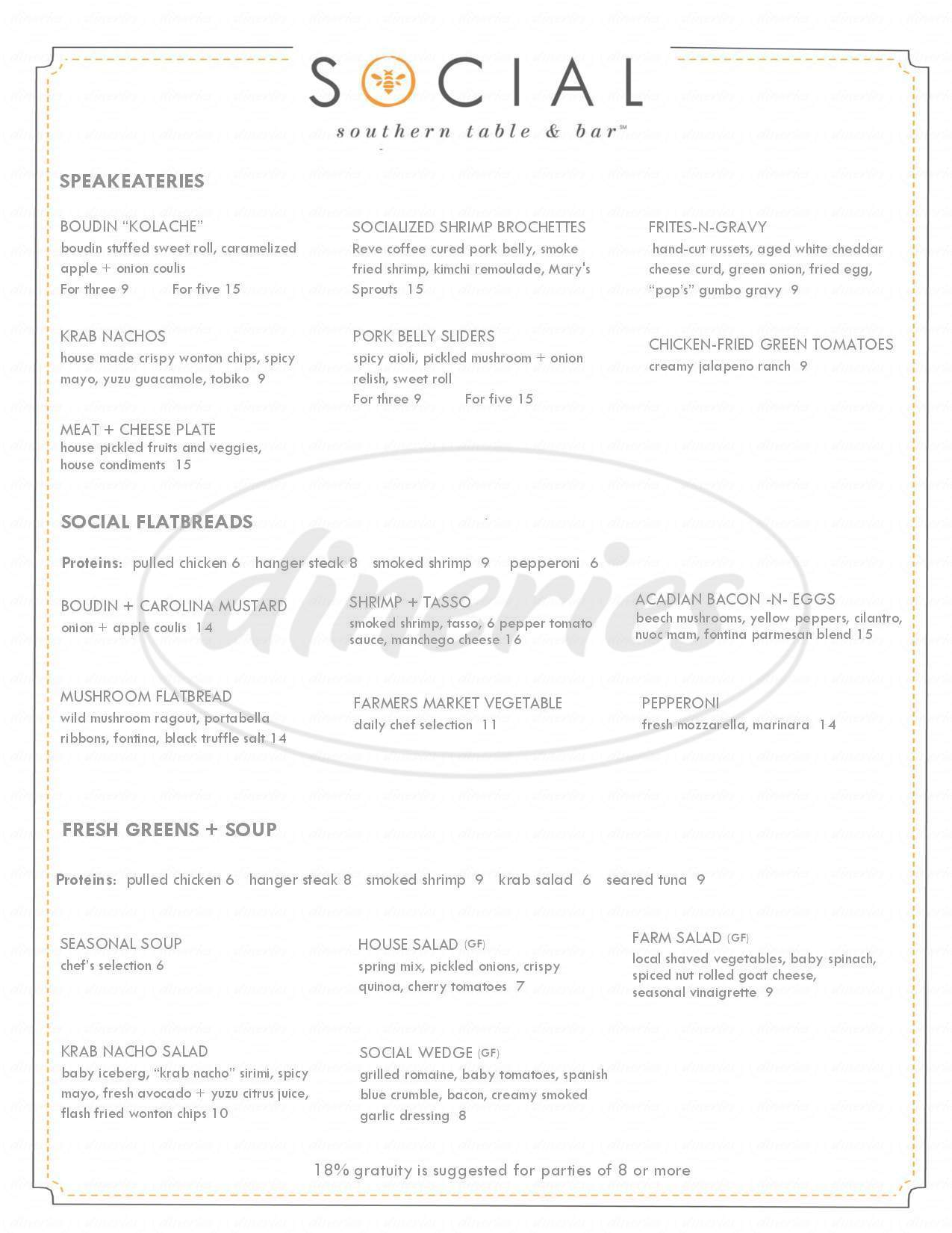 menu for Social Southern Table & Bar