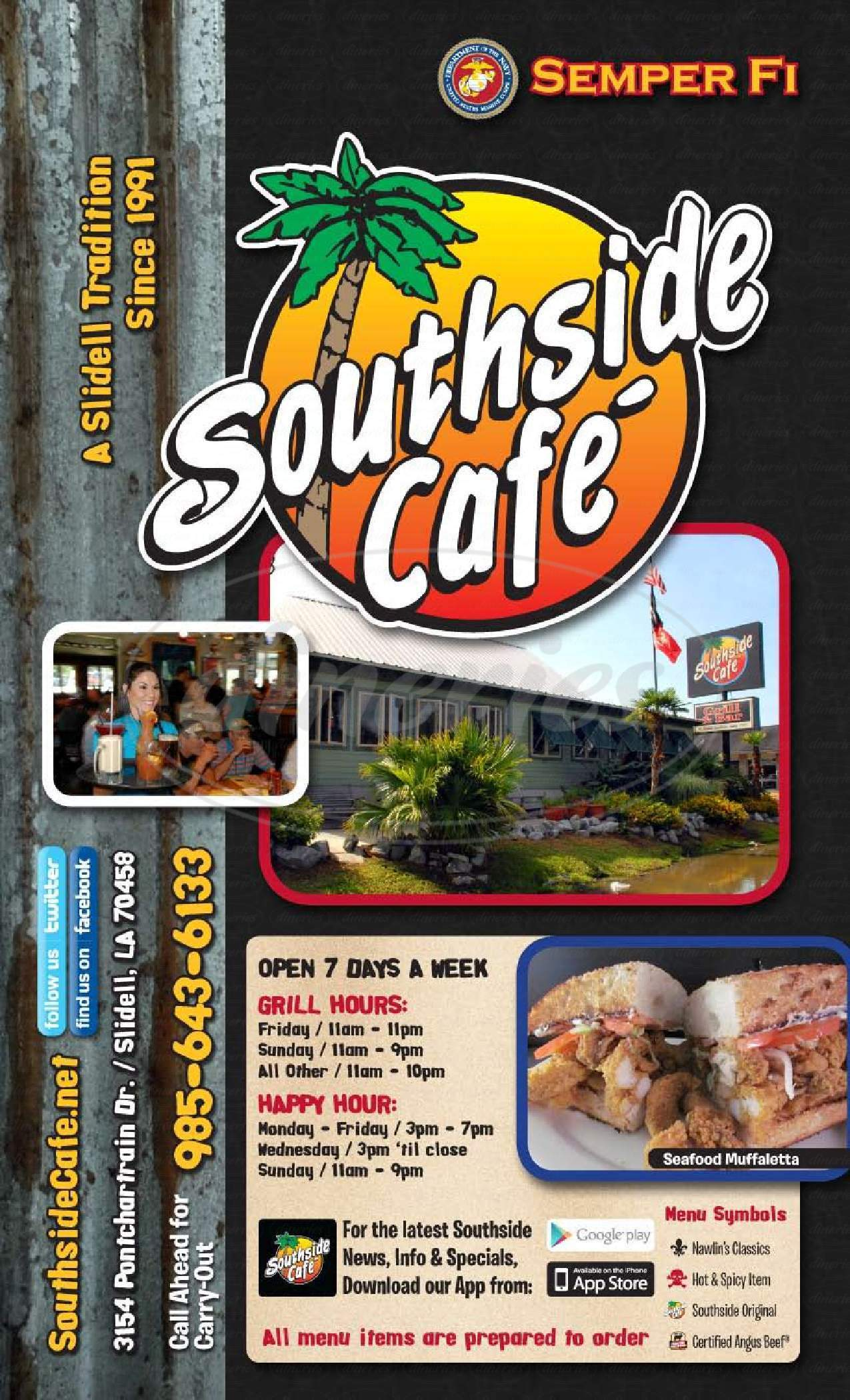 menu for Southside Cafe