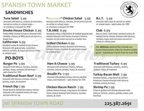 menu for Spanish Town Market