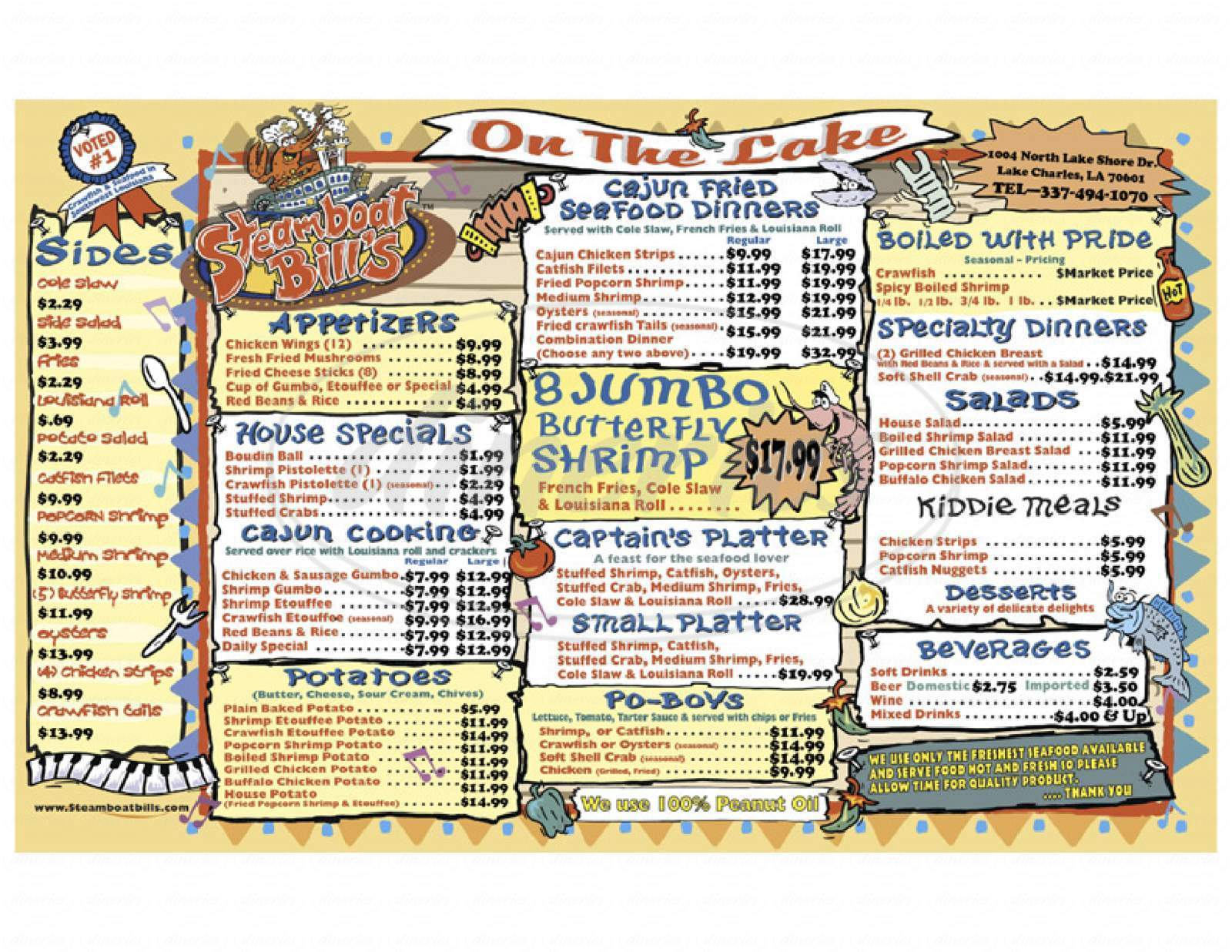 menu for Steamboat Bills Inc