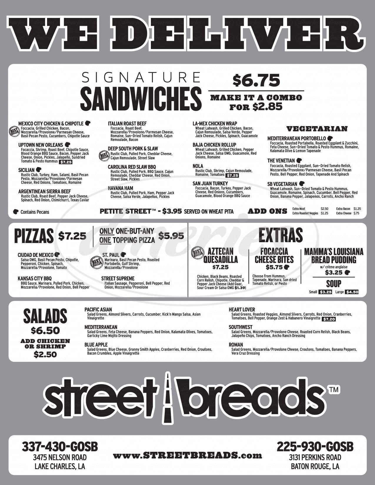 menu for Street Breads