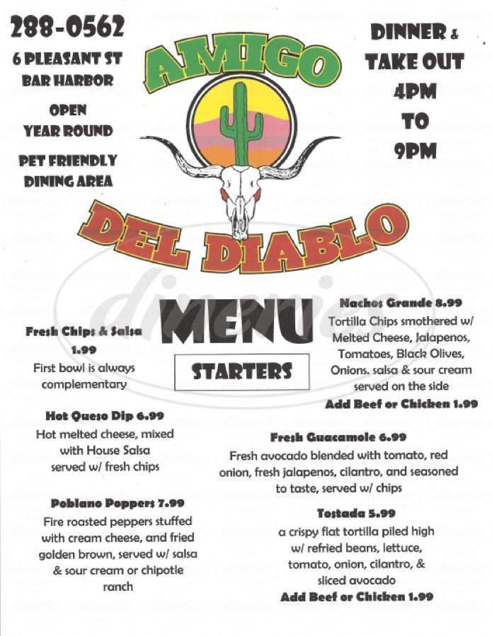 menu for Amigo Del Diablo