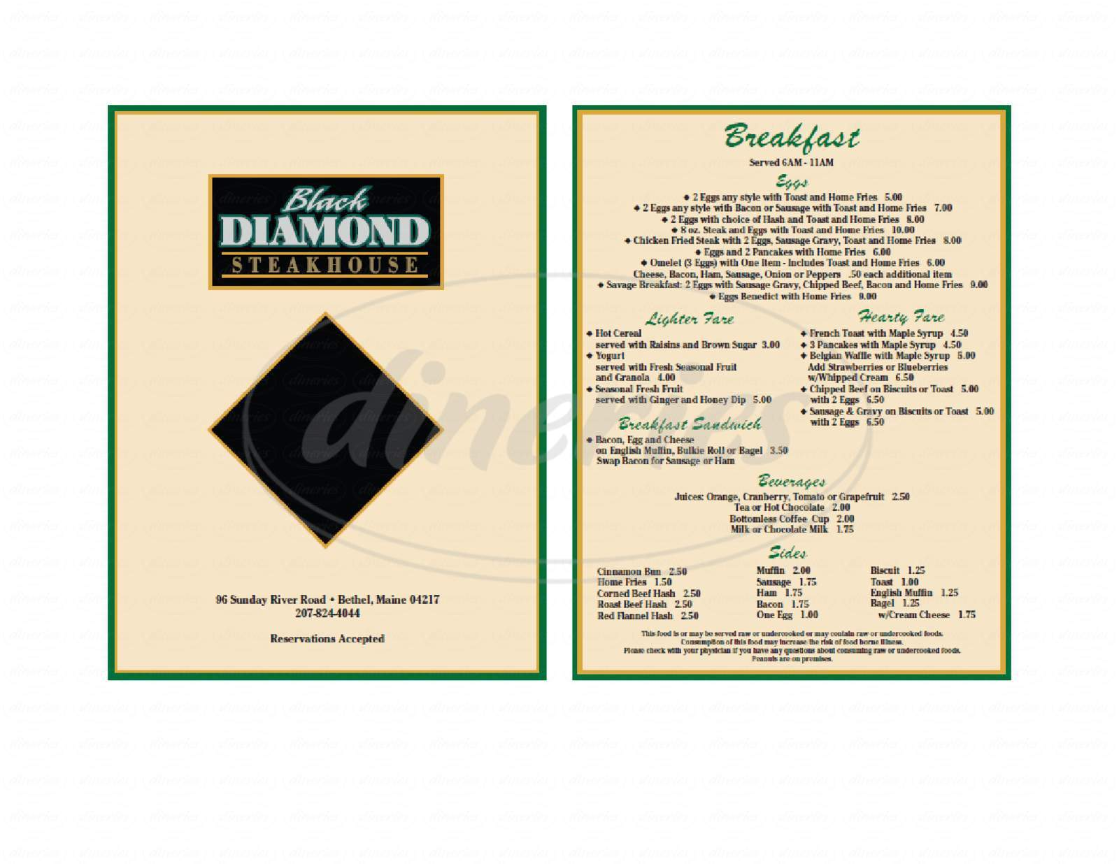 menu for Black Diamond Steakhouse