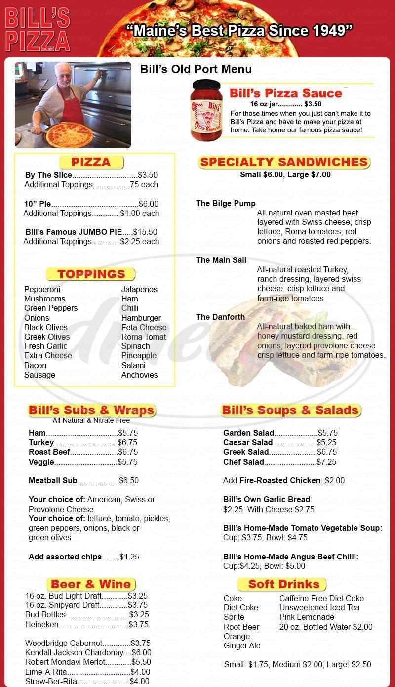 menu for Bills Pizza